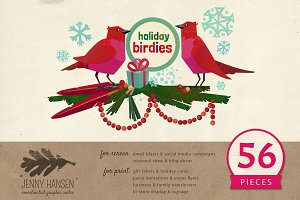 Graphics Bundle: Holiday Birdies
