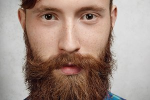 Masculinity and macho. Highly-detailed close up shot of attractive stylish man with thick fuzzy beard and well-trimmed mustache. Caucasian model with healthy clean skin with freckles posing indoors