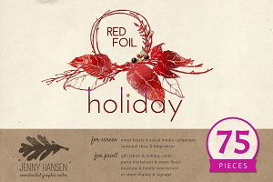 Graphics Bundle: Red Foil Holiday