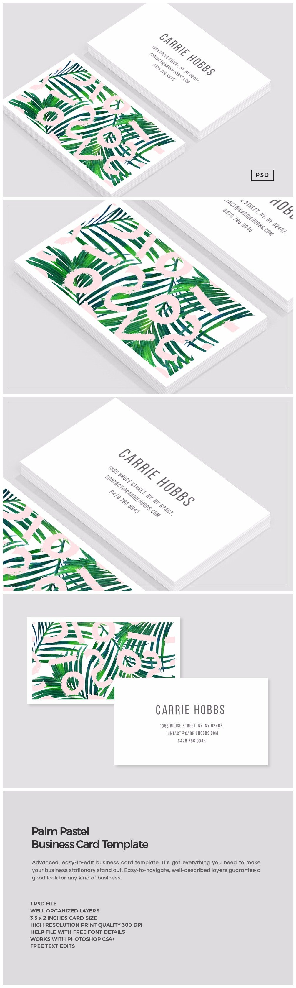 Palm pastel business card template business card templates palm pastel business card template business card templates creative market reheart Gallery