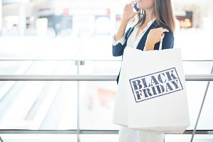Woman shopping on Black Friday
