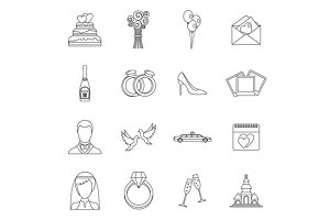 Wedding icons set, outline style