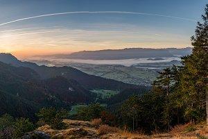 Sunrise in slovenian countryside