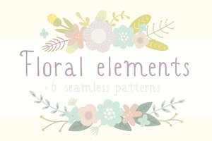Cute floral elements + 6 patterns!