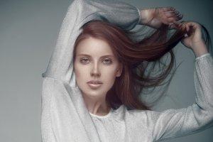 Red hair model in underwear