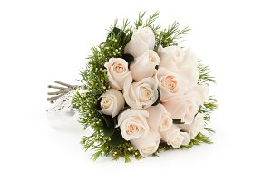 White roses bridal bouquet