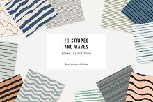 Stripes and waves seamless patterns