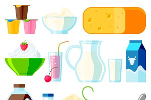 Collection dairy products vector