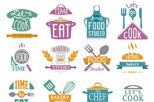Bakery shop logos vector