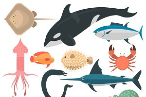 Sea animals vector characters