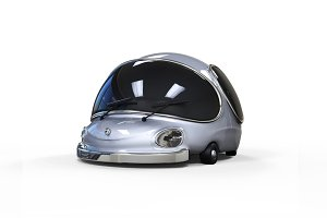 3D cartoon silver car