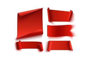 Set of five, red, realistic banners.