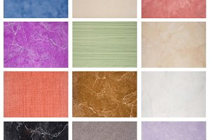 Samples of the texture of marble tiles