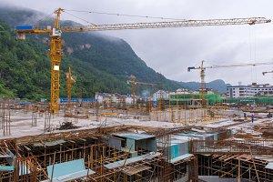 Crane at Building construction site