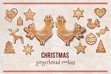 Christmas gingerbread vector cookies