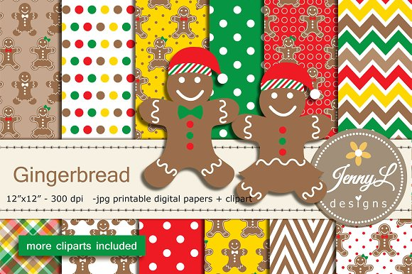Gingerbread Digital Papers & Clipart in Patterns