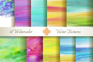 10 Watercolor Vector Textures