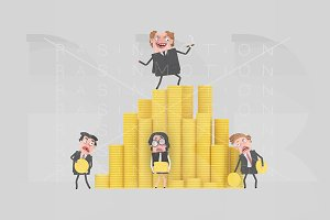3d Illustration. Money pyramid.