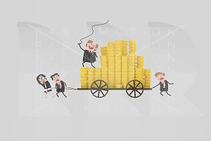3d Illustration. Money carriage.