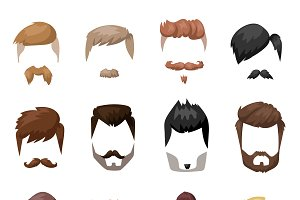 Hairstyles beard vector set