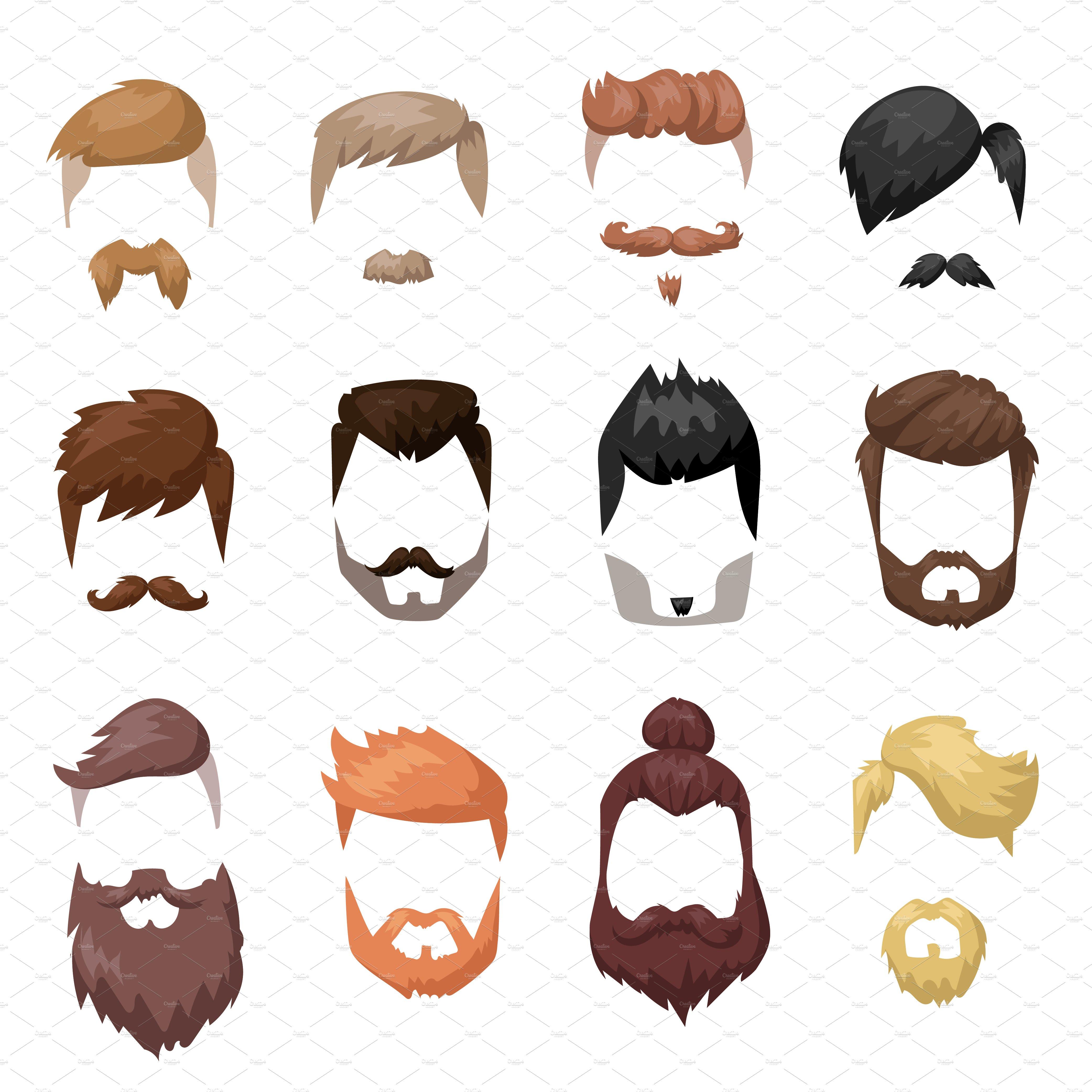 Vector Hairstyles: Hairstyles Beard Vector Set