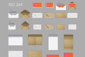 26 craft paper envelopes & postcards