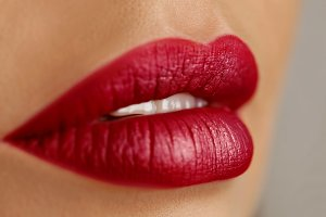 red lips of woman.