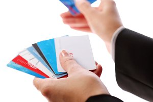 Credit card in the hands of women