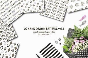 20 hand drawn patterns vol.1