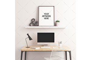 Poster Mockup Minimalist Workspace