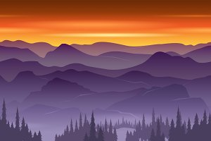 Mountains seamless background vector