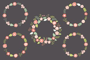 Pastel Floral Wreath Set