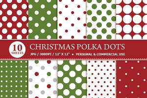 Christmas Polka Dots Digital Paper