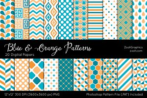 Blue & Orange Digital Papers