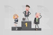 3d illustration. Businessman podium.