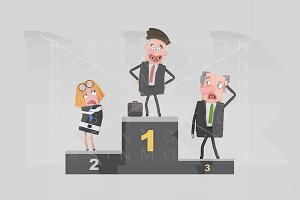 3d illustration. Businessman podium.