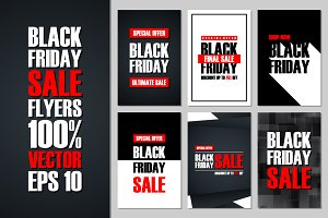 Set of Black Friday Sale flyers.