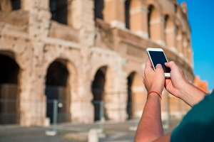 Closeup smartphone background of Great Colosseum, Rome, Italy