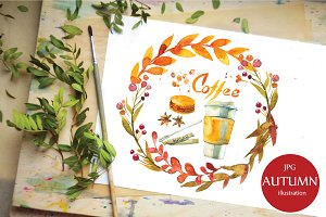 Watercolor autumn illustration