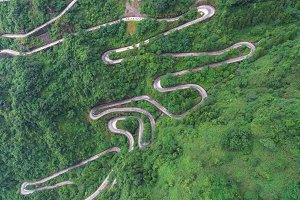 winding and curves road in China.
