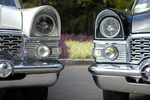 two luxury retro limousines