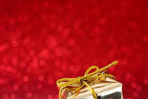 Golden gift box ornament