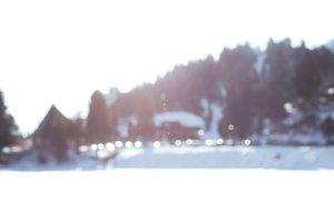 Blurry winter scenery