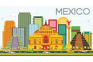 Mexico Skyline with Color Buildings