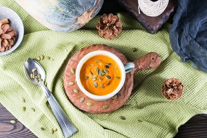 Rustic lunch with pumpkin cream soup