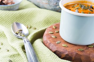 Pumpkin cream soup for lunch. Closeup