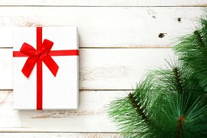 Gift box and Christmas tree