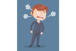 Angry screaming office worker man