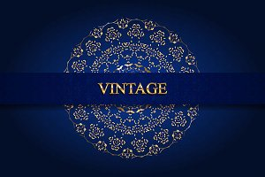 Vintage vector monogram gold 4 cards