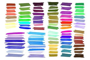 Color stripes drawn markers. Big set
